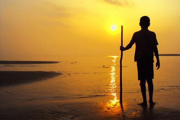 Child on Kuakata Beach Bangladesh