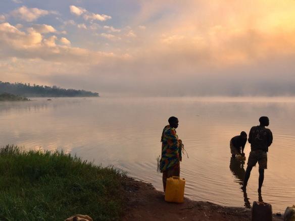People getting water at Lac Rwihinda, Kirundo - Burundi Travel Blog