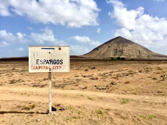 Offroad terrain from Palmeira to Buracona with volcano and road sign - Cape Verde