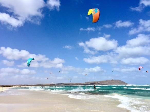 Kite Surfers on Kite Beach in Sal, Cape Verde