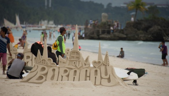 Sand Castle on white beach boracay